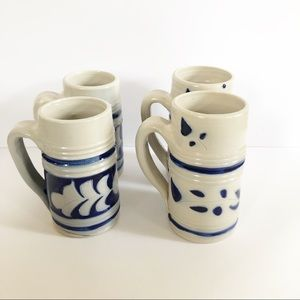 Set of 4 Vintage Hand-painted Stoneware Mugs